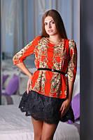 Очаровательное платье с гипюровым низом и шифоновым ярким верхом, фото 1