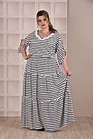 Длинное летнее платье больших размеров (рр 42-74) с кружевом
