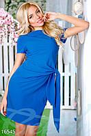 Однотонное летнее женское платье футляр длины мини с завязкой сбоку рукав короткий крепдешин