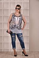Летняя блуза-туника больших размеров (рр 42-74) модной расцветки