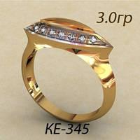 Модное женское золотое кольцо 585 *с фианитами