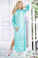 Прямое длинное женское платье рубашка с разрезами по бокам и накладным карманом рукав длинный батист прошва