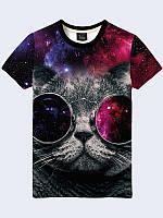 Мужская футболка Кот в космических очках