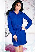 Джинсовое женское платье рубашка свободного фасона под пояс с накладными карманами рукав длинный на манжете