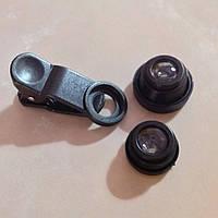 Объективы fisheye (фишай)180° 3 шт набор, чёрный, без сумочки