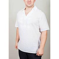 Красивая вышитая мужская рубашка белого цвета