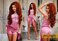 Комбинезон Коттоновый с шифоновым пояском розовый