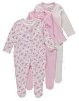 Человечки для новорожденных девочки Набор 3 шт George (Англия)