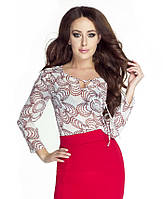 Женская шифоновая блуза кремового цвета с длинным рукавом. Модель 6057, коллекция весна-лето 2016.