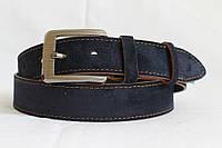 Замшевый ремень на джинсы 40 мм синий с коричневыми краями коричневой ниткой матовой пряжкой