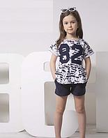Детская футболка для девочки спортивный стиль ТМ Овен с принтом 82 Украина  (белая с синим)