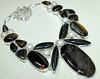 Колье, ожерелье из натуральных камней - СОКОЛИНЫЙ ГЛАЗ, ТИГРОВЫЙ ГЛАЗ, ЯШМА, ЖЕМЧУГ