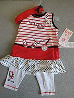 Летний комплект для девочки: платье, лосины, повязка на голову