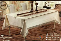 Скатерть Fenomen с кожаной вставкой Ткань бамбук Турция 160х220
