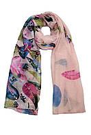Нежно-розовый шарфик легких тканей