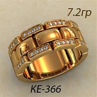 Необычное золотое женское кольцо 585 *с фианитами