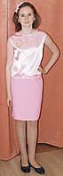 Деловой нарядный костюм на девочку, розовый, 11-12 лет, Киев. Красивый подарок