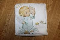 Махровая белая крыжма-полотенце для крещения (купания) малышей. Рисунок в ассортименте.