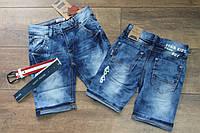 Джинсовые шорты для мальчика с поясом 4 - 12 лет
