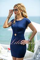 Темно-синее летнее Платье в деловом стиле