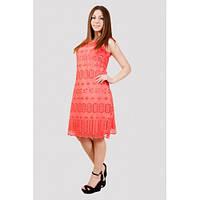 Стильное летнее женское платье персикового цвета