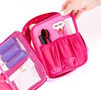 Дорожный органайзер для косметики, косметичка с отстегивающимся карманом. Цвет: розовый.