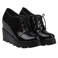 Женские туфли черные лаковые