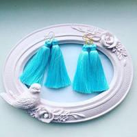 Серьги Кисточки голубые, сережки женские
