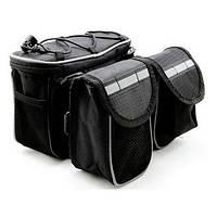 Сумка на руль, сумка на раму + накидка от дождя + ремень для переноски