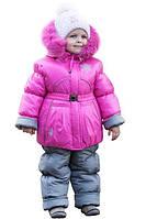 Комбинезон зимний  на девочку Розовый (куртка и полукомбинезон)