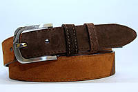 Замшевый ремень на джинсы и брюки мужской женский 40 мм комбинированный цвет рыжий/коричневый  пряжка матовая