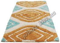 """Индийский коврик ручной работы для ванной """"Кайяк"""", цвет - голубо-оранжевый"""