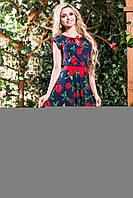 """Женское ассиметричное летнее платье с вырезом на спине """"Розы"""""""