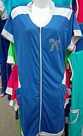 Трикотажный женский халат комбинированный 48-56
