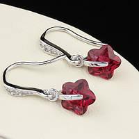 009-0094 - Замечательные серьги Цветочки с рубиновыми и прозрачными фианитами родий