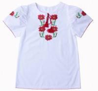 Вышиванка для девочки с коротким рукавом 1607 на 6-11 лет