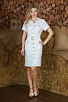 Женское летнее льняное платье-халат с пуговицами спереди