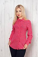 Женская рубашка в горох розовая