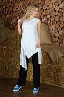Модная женская туника из льна с ассиметричным низом