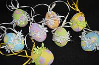 """Пасхальное яйцо, украшение для корзины """"Радуга в цветочек"""" 6-7 см (ручная работа)"""