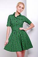 Короткое платье-рубашка в клетку с юбкой клеш. Зеленое платье в клетку. Платье зеленое.