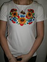 """Женская футболка вышиванка """"Подсолнухи+Маки+Волошки 2"""" короткий рукав"""