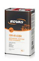 Моторное полусинтетическое масло Rovas 10W-40 A3/B4 (4л)/ для легковых автомобилей