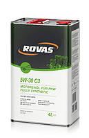 Моторное синтетическое масло Rovas 5W-30 C3 (4л)/ для бензиновых и дизельных двигателей легковых авто