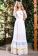 Белое Платье в Пол из Батиста с Голубой Гипюровой Оборкой