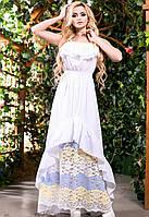 Платье Длинное Белое Батист с Оборками и Гипюром S-3XL