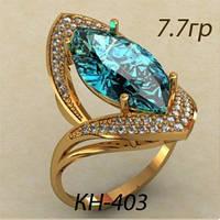 Модное женское золотое кольцо 585 * с крупным камнем
