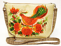 Сумочка клатч Птица на рогожке