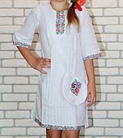 Платье с вышивкой для девочки  и с сумочкой - Зорянка