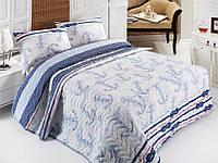 Стеганное покрывало для спальни с наволочками Capa голубое 200*220